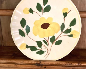 Blue Ridge Southern Pottery Salad Plate, Yellow Nocturne Colonial Fluted Yellow Flower with Buds, Farmhouse Kitchen