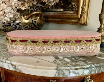 Vintage Glove Box, Shabby Quilted Glove Box with Gold Brocade and Lace, Shabby Cottage Decor,