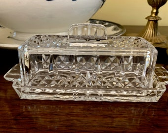 Lead Crystal Covered Butter, Cristal D' Arques Durand Longchamp Clear Lead Crystal Quarter Pound Butter, Wedding Bridal, Holiday Dining