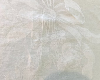 White Damask Tablecloth, Ex Large White Damask Linen Tablecloth 68 x 100 Inches, Holiday Dining, White Table Linens