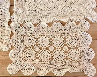 Cream Crochet Placemats, 4 Matching Ecru Placemats, 2 Matching Ecru Placemats, Cottage Farmhouse Handmade Table Linens