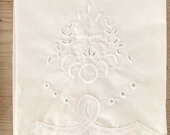 White Tea Towel Embroidered with Applique' Braiding, Scalloped Hem, 3 Available Each Sold Separately, French Country Cottage Farmhouse