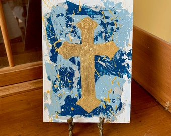 Contemporary Cross Painting, Gold Leaf Cross with Blue White Background, Acrylic on Panel with Gold Leaf, Unframed Original Art, 2 Available