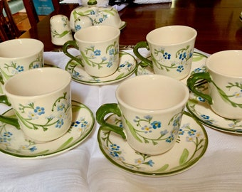 Franciscan Forget Me Not Cups Saucers, Set of 6 Flat Coffee Mugs and Saucers with 2 Extra Saucers, Blue Green White Floral China,