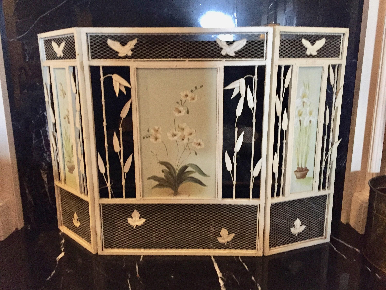 Awe Inspiring Vintage Summer Fireplace Screen Folding Metal Fireplace Beutiful Home Inspiration Ommitmahrainfo