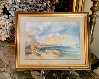 Vintage Turner Seascape Print, Small Reproduction J.M.W. Turner Dover Print, Gold toned Wood Frame, Nautical Seascape, Art Lover Gift