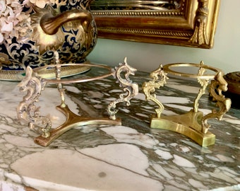 Brass Dragon Pedestal Bowl Stand, Chinoiserie Brass Pedestal Bowl Holder, 2 Available Each Sold Separately, Chinoiserie Asian Decor