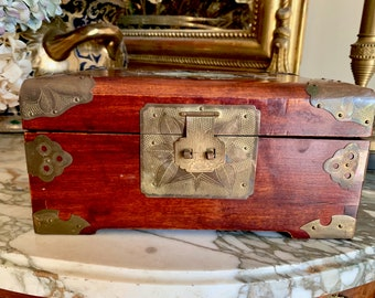 Vintage Chinese Rosewood Jewelry Box, Made in Shanghai China, Blue Silk Interior, Brass Embellishments and Latches, Jade Medallion,