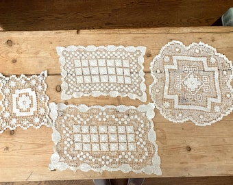 Knotted Lace Doilies, Set of 4 Ivory Lace Doilies, Handmade Lace Doilies, Round Scalloped Doily, Rectangle Doilies, Square Doily