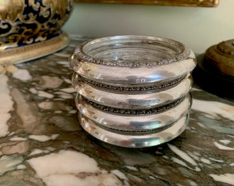 Sterling and Glass Coasters, Set of 4 Rogers Sterling Coaster with Floral Pattern and Glass Starburst Bottom, Silver Barware Gift