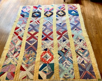 Vintage Pieced Quilt, Handmade Southern Quilt, Feed Sack Material, 59 x 69 Inches, Quilt Wall Decor, Country Farmhouse Decor