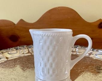 Oneida Wicker Creamer, Vintage White Stoneware Creamer with Basketweave Pattern, Discontinued Pattern, Cottage Farmhouse