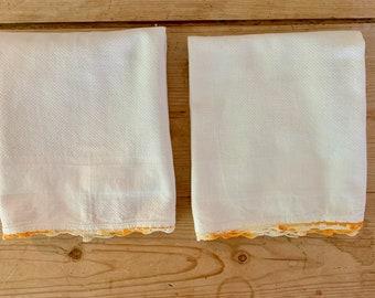White Tea Towel, Orange White Crochet Trim, Waffle Weave Cotton, Vintage Cannon Tea Towel, 2 Available Each Sold Separately,
