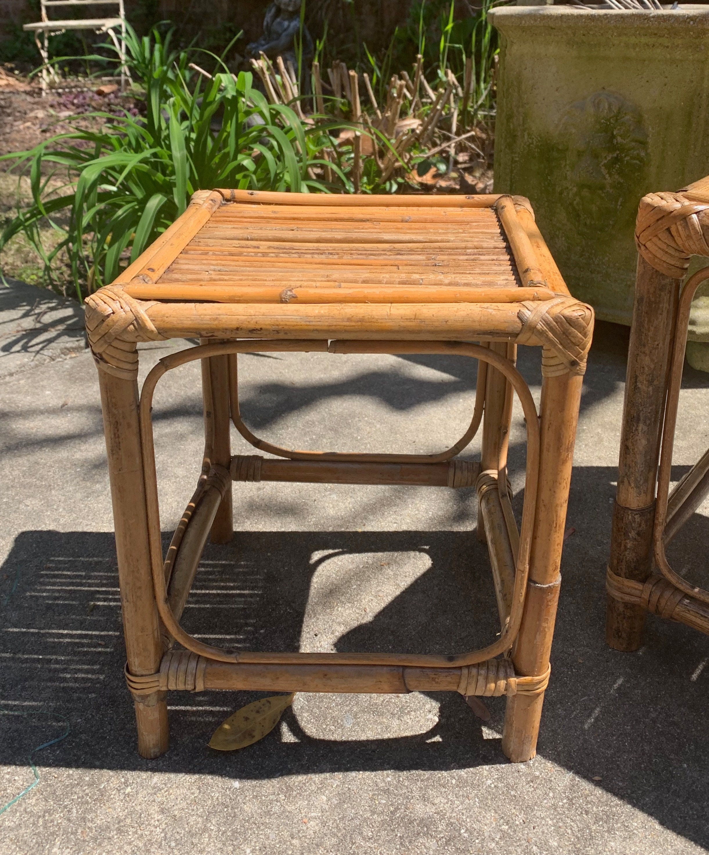 Magnificent Small Bamboo Plant Stand 11 Inch Bamboo Stool Vintage Beatyapartments Chair Design Images Beatyapartmentscom