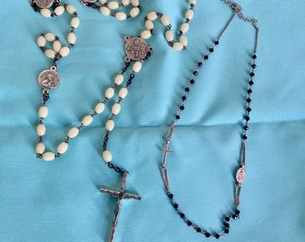 Vintage Rosary,  Small Religious Necklace Black Beads and Sterling, Cream Colored Bead Rosary, Sold as Set, Religious Gift, Prayer Rosary
