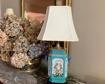 Asian Table Lamp with Shade, Vintage Turquoise Colored Asian Lamp, Brass Chinoiserie Finial, Asian Chinoiserie Decor