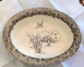 Antique Brown Transferware Bowl, W. T. Copeland Stoke on Trent Open Vegetable Bowl, English Ironstone Serving Bowl, Aesthetic Movement Bowl