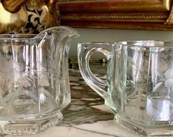 Vintage Cut Glass Creamer Open Sugar, Cut Gray Floral Design, Pressed Glass Block Pattern, Heavy Glass with Cut Design, Cottage Farmhouse