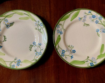 Franciscan Forget Me Not Salad Plates, Set of 2 Plates, Casual Blue Green Floral 70's China, Cottage Farmhouse, Replacement china