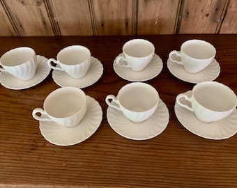 Johnson Brothers Regency Cup and Saucer Set,  7 Available Each Sold Separately, English Ironstone, White Casual China