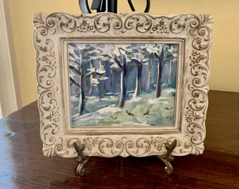 Miniature Snow Scene Painting, Framed Small Acrylic Snow Painting, White Glazed French Style Frame, Cottage Farmhouse Decor