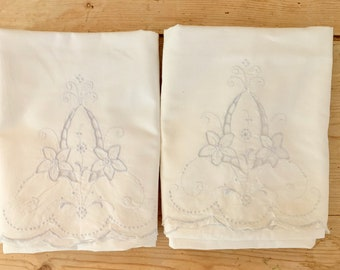 Blue Embroidered Pillowcases, Vintage Scalloped Handmade  King Size White Pillowcases with Floral Embroidered Design, Cottage Farmhouse