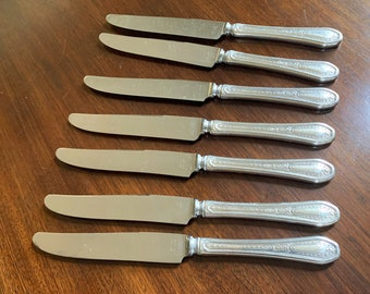 Hampton Court Dinner Knives, Set of 7 Silver Plate Dinner Knives, French Hollow Knives with Bolster, Replacement Silver Plate Flatware