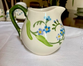 Franciscan Forget Me Not Creamer, Vintage 79's Blue Floral Green China, Cottage Farmhouse, Replacement china