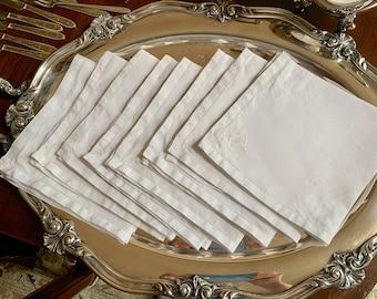 Linen Hemstitched Napkins, Set of 8 Vintage Embroidered Hemstitch Napkins, 16 Inch Dinner Napkins, Holiday Dining Linens