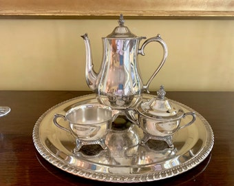 Silver Plate Tea Set with Tray, 3 Piece International Silver Plate Tea Set, Silver over Copper Tray, Sold Together As Set, Silver Serving