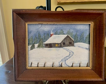 Vintage Primitive Snow Scene Painting, Signed Dated, Small 5 x 7 Acrylic on Panel, Wooden Frame, Cottage Farmhouse Decor
