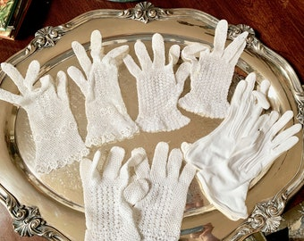 Vintage Lace Gloves, 3 Pairs Children's Lace Gloves, One Pair White Gloves, Sold as Set of 4, Play Gloves, Theatre Costume Gloves