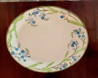 Franciscan Forget Me Not Platter, 13 Inch Platter, Vintage 70's Blue Green Floral China, Cottage Farmhouse, Replacement China