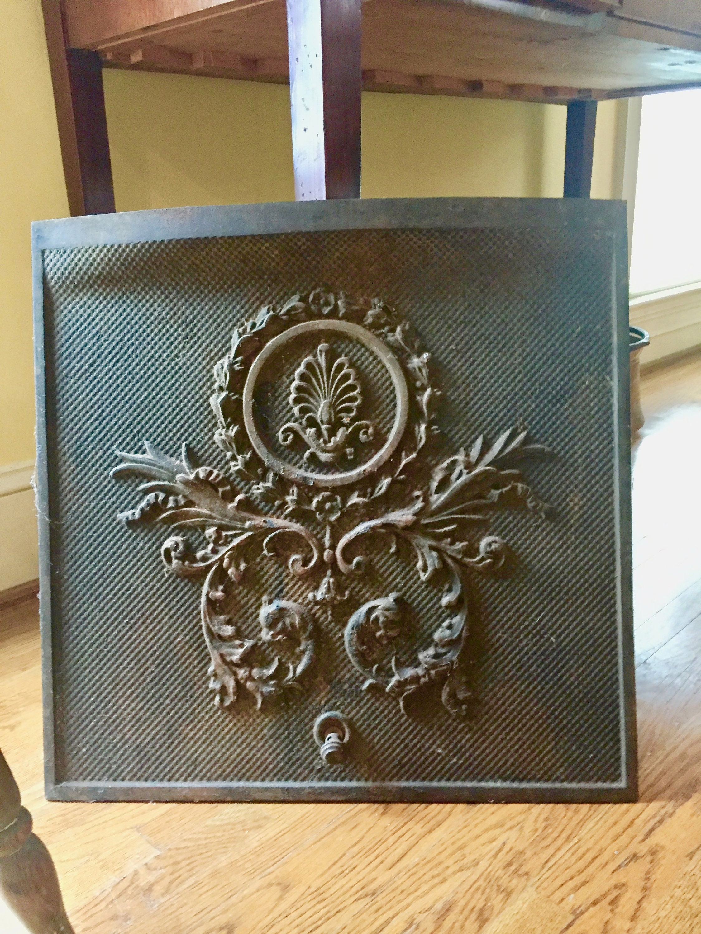 Antique Cast Iron Fireplace Cover, Victorian Summer ...