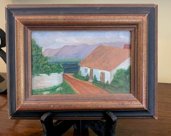 Vintage Small Landscape with White House, Framed Signed 4 x 6 Oil on Canvas Board. Cottage Farmhouse Decor