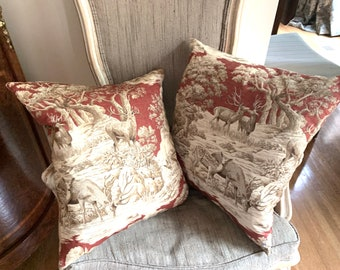 Pair Toile Pillow Covers with Forms, Red Cream Brown Toile Woodland Scene with Deer Grazing, Vintage Toile 17 Inch Pillows, Sold As Set of 2