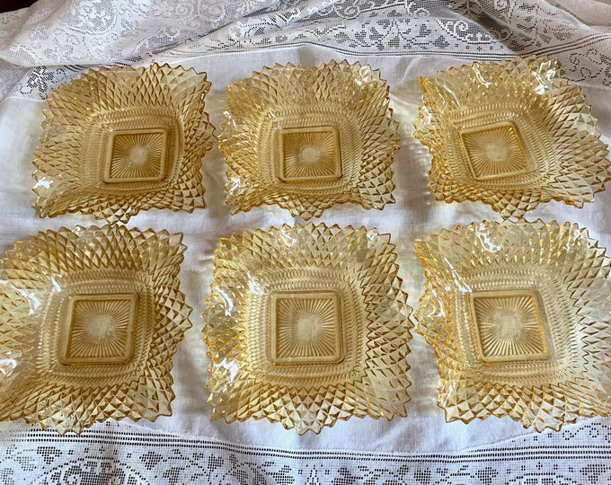 Featured listing image: Six Hobnail Amber Bowls, Set of 6 Scalloped Depression Era Bowls, Candy Dish, Salad Bowls, Fruit Bowls, Sold as Set of 6, 5 Available