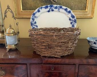 Large Round Grapevine Basket, Woven Vintage Handmade Round Basket, Centerpiece Basket, Storage Basket,  Decorative Basket, Plant Basket