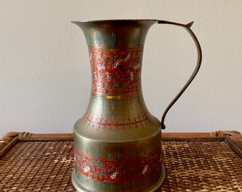 Vintage Brass Engraved Pitcher, Enameled Hand Painted Brass Pitcher. Bohemian Eclectic Decor, Asian Decor, Mid Century Boho Decor
