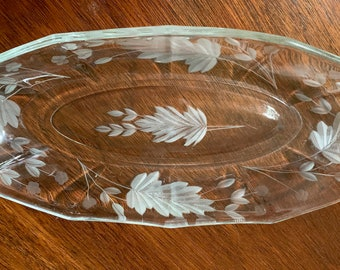 Cut Pressed Glass Relish Dish,  Cut Pickle Dish, Gray Cut Floral Pattern Scalloped Rim, Holiday Serving Dish, Wedding Bridal Gift