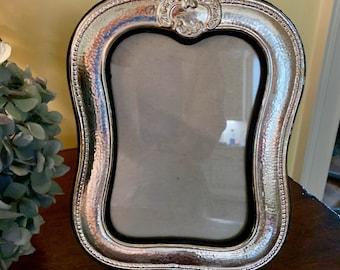 Vintage Silver Plate Photo Frame, Art Nouveau Style 5 x 7 Inch Photo Frame, French Country Decor, Keepsake Photo Gift