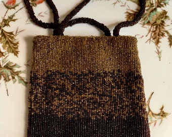 Bronze Beaded Evening Bag, Vintage Cache Beaded Cocktail Purse,  After 5 and Wedding Attire, Ladies' Fall Evening Bag