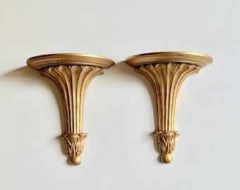 Pair Wall Shelf Sconces, Vintage Neo Classical Style Wall Sconces,  Gold Toned Hollywood Regency Display Shelf Sconces, French Country