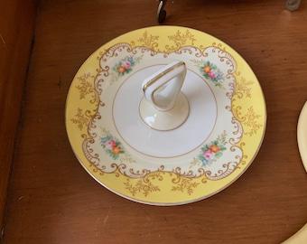 Noritake Dessert Dish, Pastry Plate, Small Handled Dessert Plate, Vanity Dresser Dish, 1930's, Yellow White Gold, Floral Bouquet Pattern