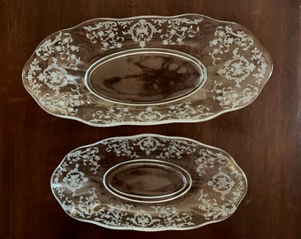 Fostoria Navarre Celery Dish Flared,  Fostoria Navarre Pickle Dish Flared, Clear Etched Blown Glass Relish Dish, Sold Together as Set of 2