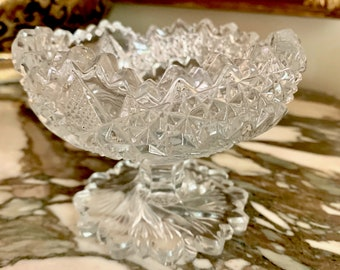 Cut Pressed Glass Compote, Footed Small Compote with Pinwheel Design and Scalloped Rim, Small Relish Compote, Holiday Dining,