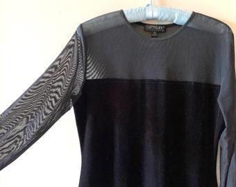 Black Velveteen Sheer Dress, Vintage Karen Kane Medium Long Velveteen Dress Sheer Sleeves, After 5 Holiday Party Dress,