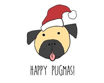 Happy Pugmas, A6 card