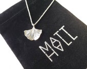 """Ginkgo Biloba Sterling Silver pendant/necklace 20"""" sterling silver Stardust serpentine chain w/lobster claw clasp."""