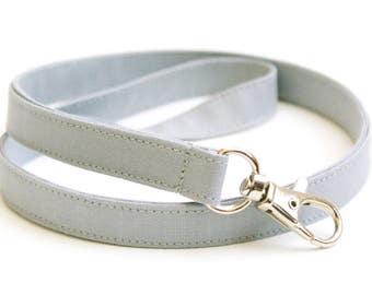 Solid Gray Skinny Lanyard - Thin Lanyard with Swivel Clasp - 1/2 Inch Key Lanyard - Cute Long Key Strap - Teacher Lanyard - 15.5-19.5 Inches